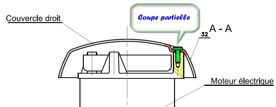La coupe partielle dans le dessin technique 2d tge - Exercice dessin industriel coupe et section ...